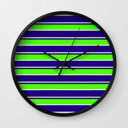 Nautical Stripes, Navy, Chartruce and White Wall Clock