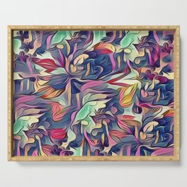 Midnight Floral Abstract Serving Tray