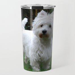 Westie in the garden Travel Mug