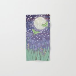 Moonlit stars, luna moths, snails, & irises Hand & Bath Towel