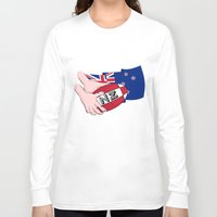 new zealand Long Sleeve T-shirts featuring Rugby Ball New Zealand by mailboxdisco
