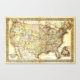1867 USA Map Canvas Print