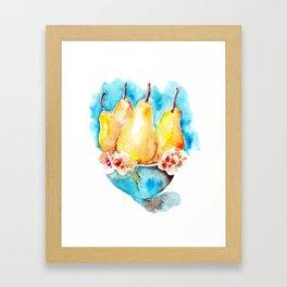 Ripe pears fruit in blue vase drawing by watercolor Framed Art Print