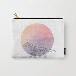 Geometric Fox In Thin Stipes On Circle Background Carry-All Pouch