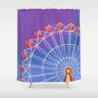 ferris wheel Shower Curtains featuring Ferris Wheel by Haley Jo Phoenix