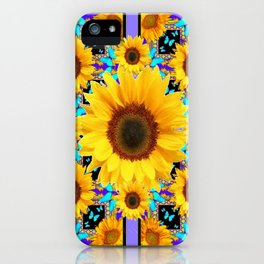 Lilac Purple Yellow Sunflowers &  Aqua Butterflies Quatre  Patterns iPhone Case