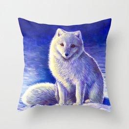 Peaceful Winter Arctic Fox Throw Pillow