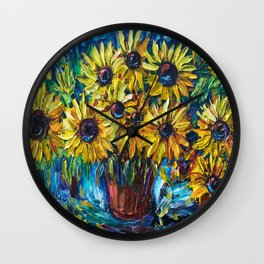 SUNFLOWERS in a Vase — Palette knife painting by OLena Art Wall Clock