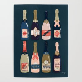 French Champagne Collection – Teal Poster