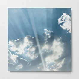 Breathtaking Sun Rays Dancing Through Spectacular Clouds Metal Print