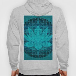 Blue Geometric Glitch Lotus Flower Hoody