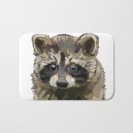 Raccoon Cub on white background * Animal Lover Gift Bath Mat