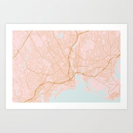 Bridgeport map, Connecticut Art Print