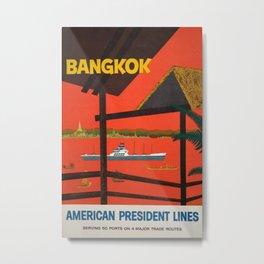 Bangkok Vintage Travel Poster Metal Print