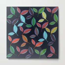 Leaves laid out artistically to form an attractive Pattern Metal Print