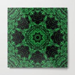 Green and Black Kaleidoscope 3 Metal Print