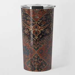 Boho Chic Dark VII // 17th Century Colorful Medallion Red Blue Green Brown Ornate Accent Rug Pattern Travel Mug