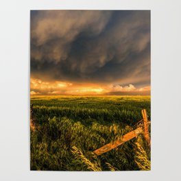 Breadbasket - Golden Light Illuminates Fence and Field in Kansas Poster