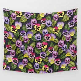 Purple, Red & Yellow Pansies With Green Leaves - Floral/Botanical Pattern Wall Tapestry