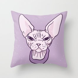 Lilac Point Seal Grumply Wrinkly Sphynx Kitty - Hairless Cat Illustration - Bad Cattitude - Line Tattoo Art Throw Pillow