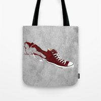 converse Tote Bags featuring Converse by Gayle Storm