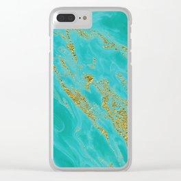 Luxury and glamorous gold glitter on aqua Sea marble Clear iPhone Case