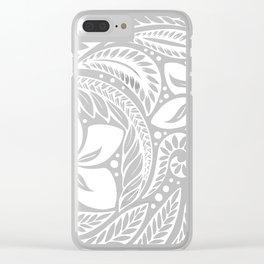 Circular Polynesian White Floral Tattoo Clear iPhone Case