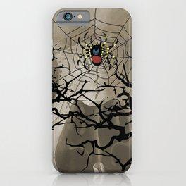 halloween Spider in web between trees iPhone Case