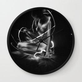 nude lightpainting Wall Clock