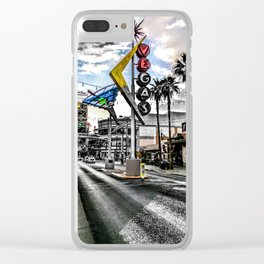 Las Vegas Downtown Neon Sign Photograph Color/Black and White Mashup Clear iPhone Case