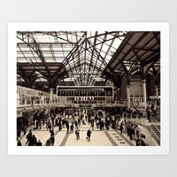 liverpool Art Prints featuring Liverpool Station by Roxana Lazăr