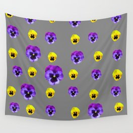 YELLOW & PURPLE PANSY FLOWERS ON CHARCOAL GREY Wall Tapestry