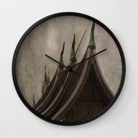 buddhism Wall Clocks featuring Temple of the golden city Luang Prabang Laos by Maria Heyens