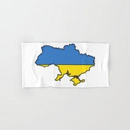 Ukraine Map with Ukrainian Flag Hand & Bath Towel