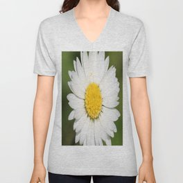 Closeup of a Beautiful Yellow and Wild White Daisy flower Unisex V-Neck