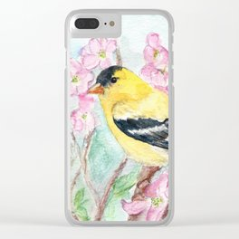 Goldfinch and Dogwood Flowers Clear iPhone Case