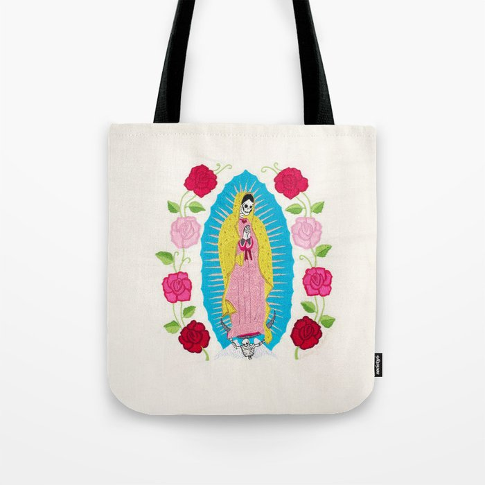 Skull Virgin Of Guadalupe Hand Embroidered Tote Bag By