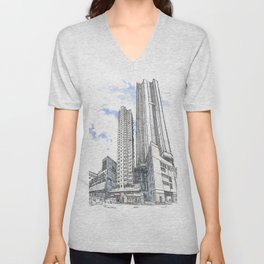 Hong Kong continuity of towers Unisex V-Neck