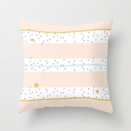 Pink and Blue stripes with gold confetti Throw Pillow