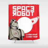soviet Shower Curtains featuring Retro Soviet minimalism spacerobot   by Cardula