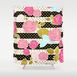 Fun Chic Roses & Black and White Stripes with Gold Dots Shower Curtain