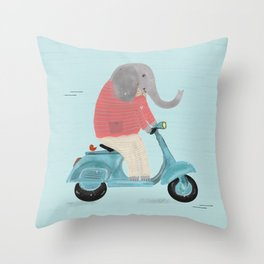 elephant scooter Throw Pillow