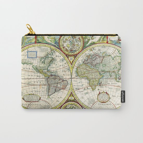 Vintage World Map Antique Carry-All Pouch