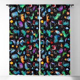 Dinosaur Astronauts In Space Watercolor Pattern Blackout Curtain