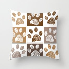 Doodle paw print pattern with brown square Throw Pillow