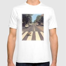 Why did the chicken cross THE road? Mens Fitted Tee White X-LARGE