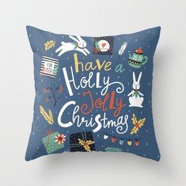 Christmas rabbits Throw Pillow