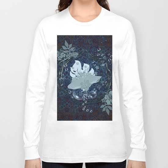Surfing, surfboard with flowers Long Sleeve T-shirt