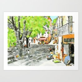 Tortora: man, scooter and child on a bicycle Art Print