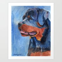 rottweiler Art Prints featuring Rottweiler by Doggyshop